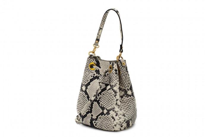 Кожаная сумка-мешок с эффектом змеиной кожи Gianni Notaro